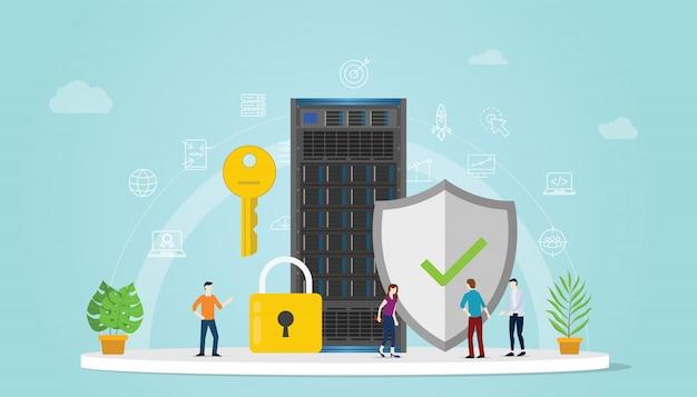 Concetto di sicurezza del server con persone del team che lavorano insieme Vettore Premium