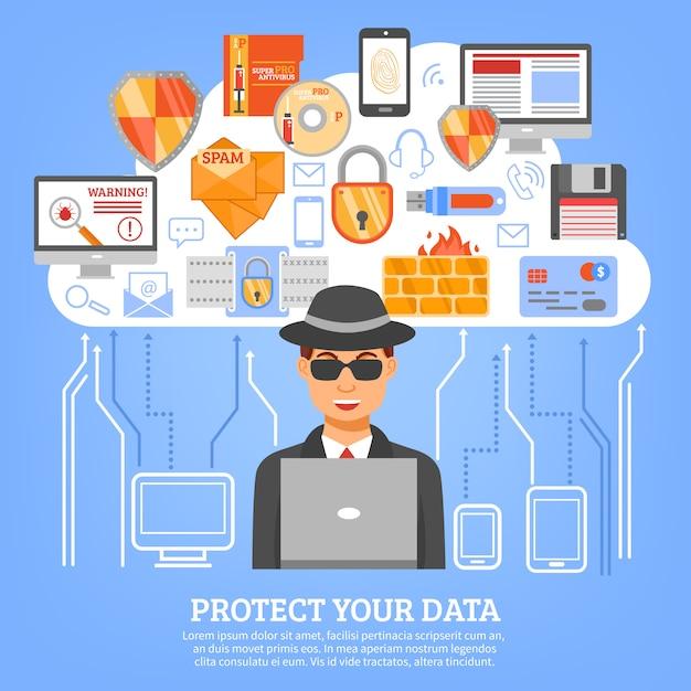 Concetto di sicurezza della rete Vettore gratuito