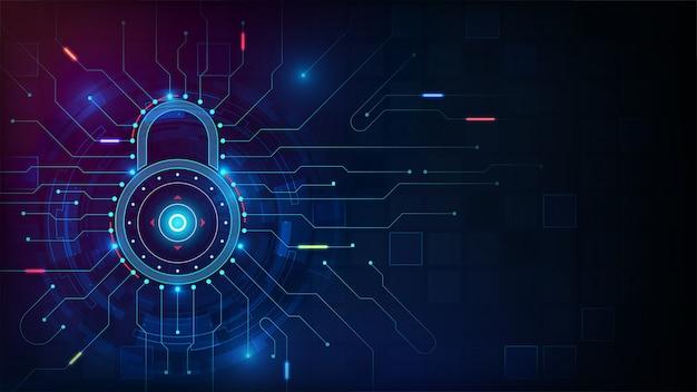 Concetto di sicurezza informatica con elemento hud su sfondo di tono blu Vettore Premium