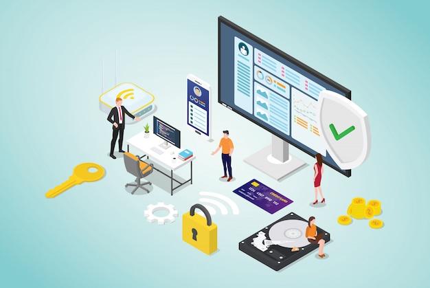 Concetto di sicurezza informatica con persone del team e programmatore di codice sicuro con stile piatto moderno e design isometrico Vettore Premium