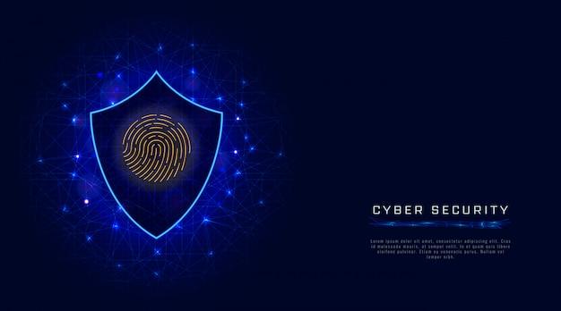 Concetto di sicurezza informatica scudo, scansione delle impronte digitali. protezione dei dati cloud su sfondo astratto Vettore Premium