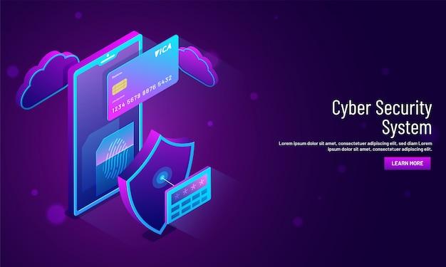 Concetto di sistema di sicurezza informatica, illustrazione isometrica. Vettore Premium