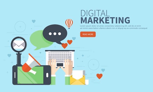 Concetto di sito web marketing digitale Vettore Premium