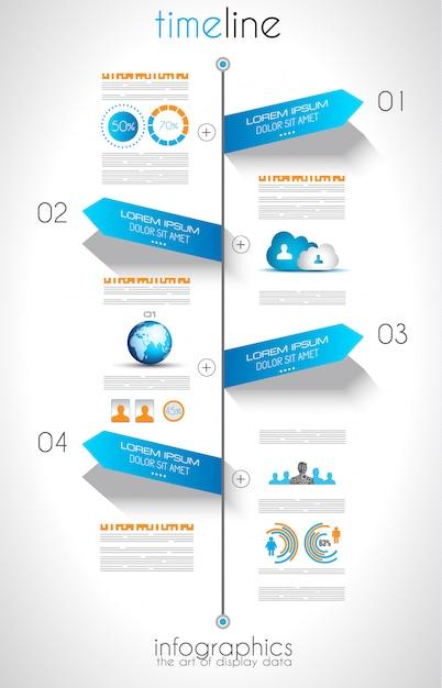 Concetto di social media e cloud infografica Vettore Premium