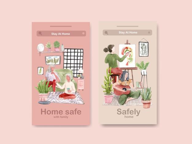 Concetto di soggiorno di progettazione di instagram a casa con il disegno della gente e l'illustrazione dell'acquerello della famiglia Vettore gratuito