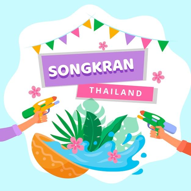 Concetto di songkran piatto Vettore gratuito