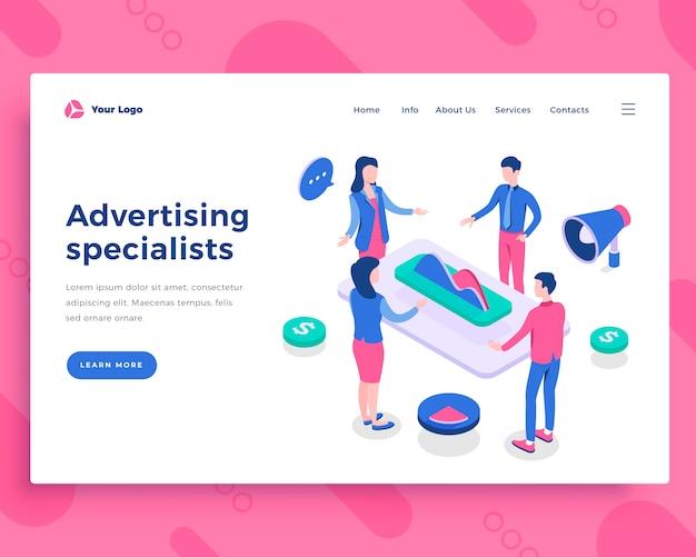 Concetto di specialisti pubblicitari Vettore Premium