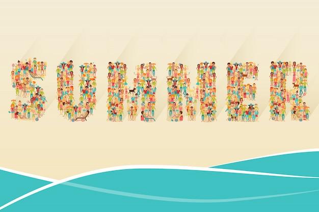 Concetto di spiaggia estiva Vettore gratuito
