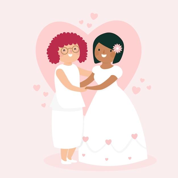 Concetto di sposi colorati Vettore gratuito