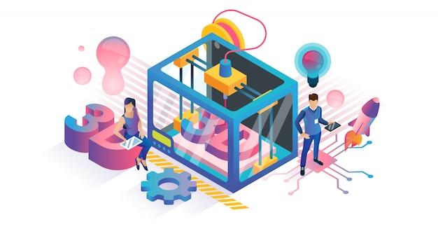Concetto di stampa 3d isometrica Vettore Premium