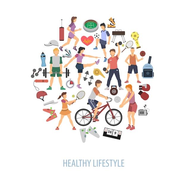 Concetto di stile di vita sano Vettore gratuito