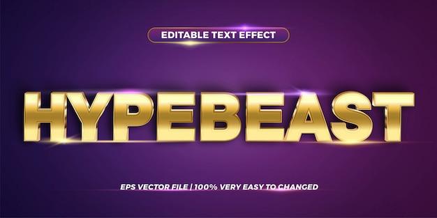 Concetto di stile effetto testo modificabile - hype parola bestia Vettore Premium