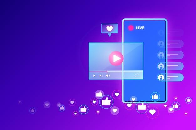 Concetto di streaming live e novità Vettore gratuito