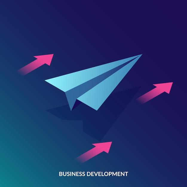 Concetto di sviluppo del business isometrico Vettore Premium