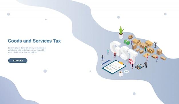 Concetto di tassa dei servizi merci gst per modello di sito web o home page di destinazione Vettore Premium