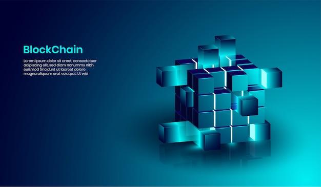 Concetto di tecnologia isometrica blockchain e criptovaluta. Vettore Premium