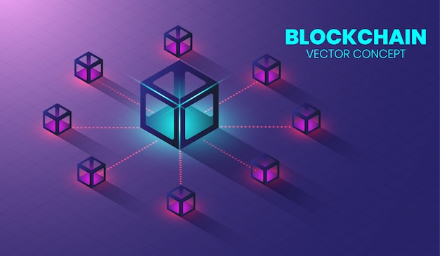 Concetto di tecnologia isometrica blockchain. Vettore Premium