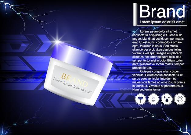 Concetto di tecnologia pubblicitaria cosmetica Vettore Premium