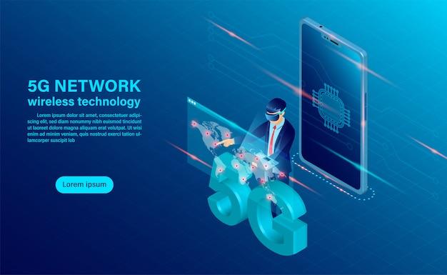 Concetto di tecnologia wireless di rete banner 5g Vettore Premium