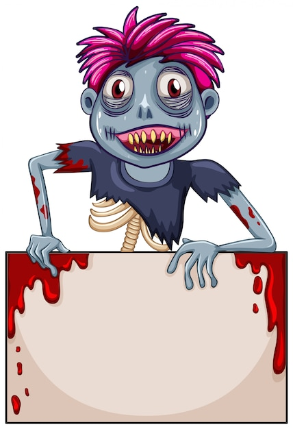Concetto di telaio vuoto zombie Vettore Premium