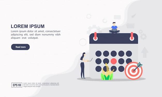 Concetto di template web di landing page di pianificazione Vettore Premium