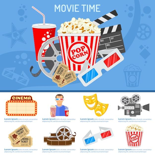 Concetto di tempo del cinema e del cinema Vettore Premium