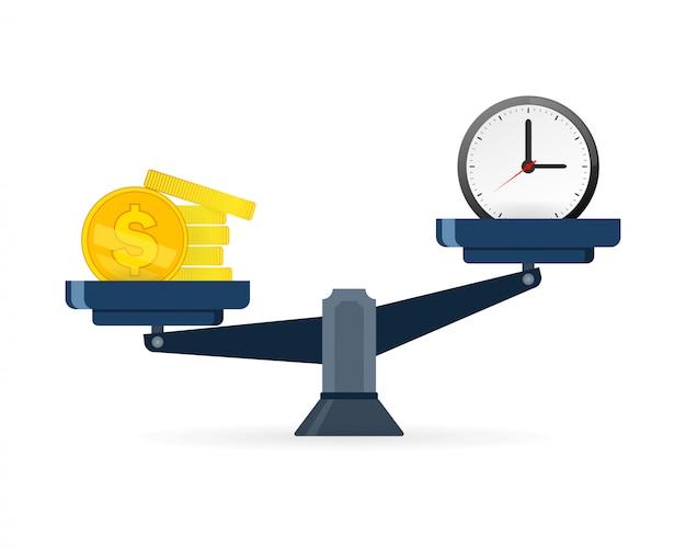 Concetto di tempo e denaro. il tempo è più prezioso del denaro. il tempo è denaro sull'icona scale Vettore Premium