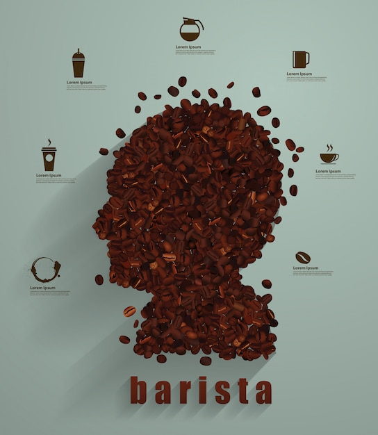 Concetto di testa di caffè come simbolo per un barista o un'icona di un caffè Vettore Premium