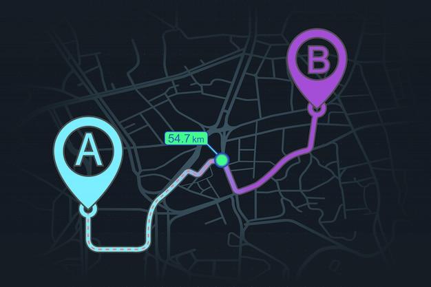 Concetto di tracciamento gps dal punto a al punto b Vettore Premium