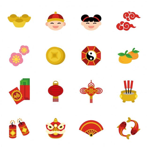 Concetto di tradizioni di vacanza capodanno cinese Vettore Premium