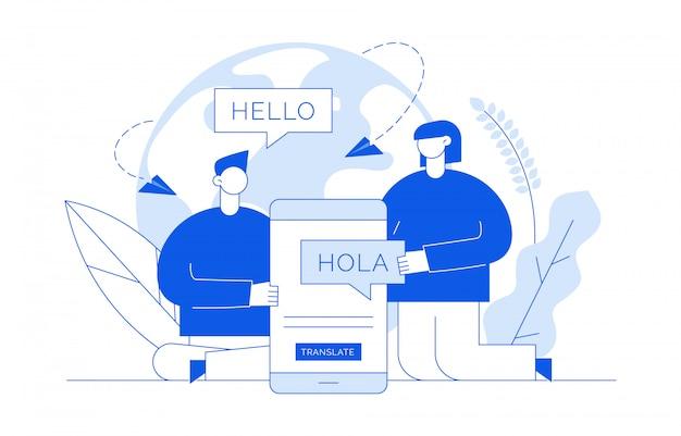Concetto di traduzione con le persone Vettore Premium