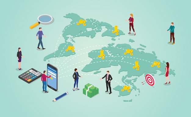 Concetto di trasferimento di denaro con persone che inviano denaro intorno alla destinazione del mondo globale Vettore Premium