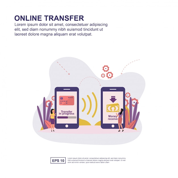 Concetto di trasferimento online Vettore Premium
