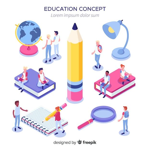 Concetto di università isometrica con elementi di educazione Vettore gratuito