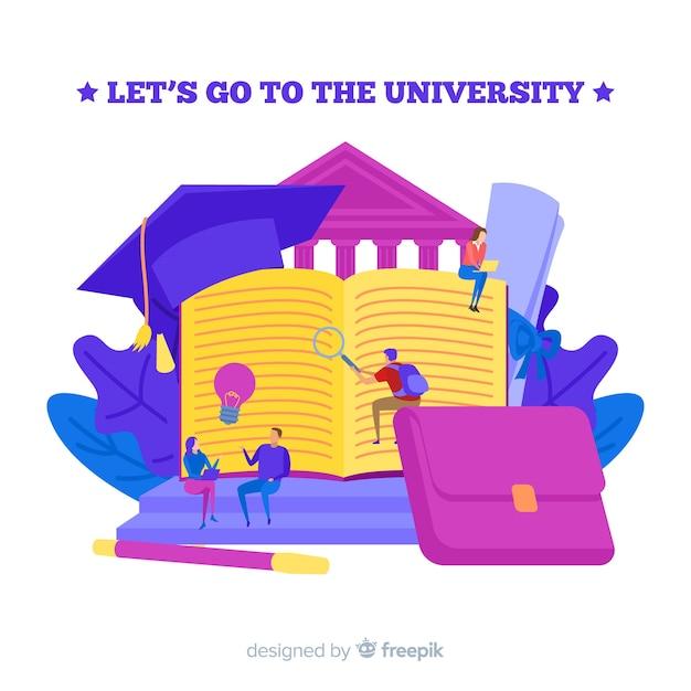 Concetto di università piatta Vettore gratuito