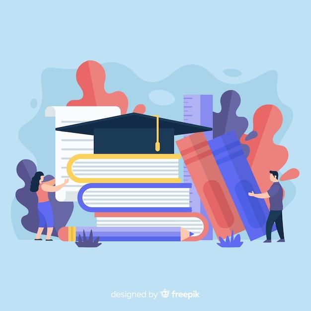 Concetto di università piatto con elementi di educazione Vettore gratuito