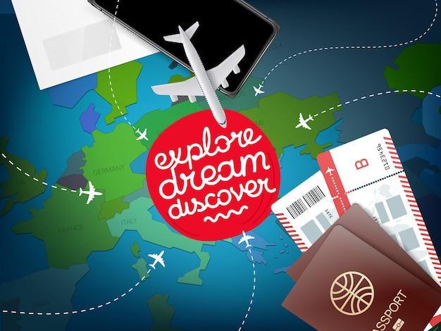 Concetto di vacanza con mappa del mondo, esplora il sogno scopri Vettore Premium