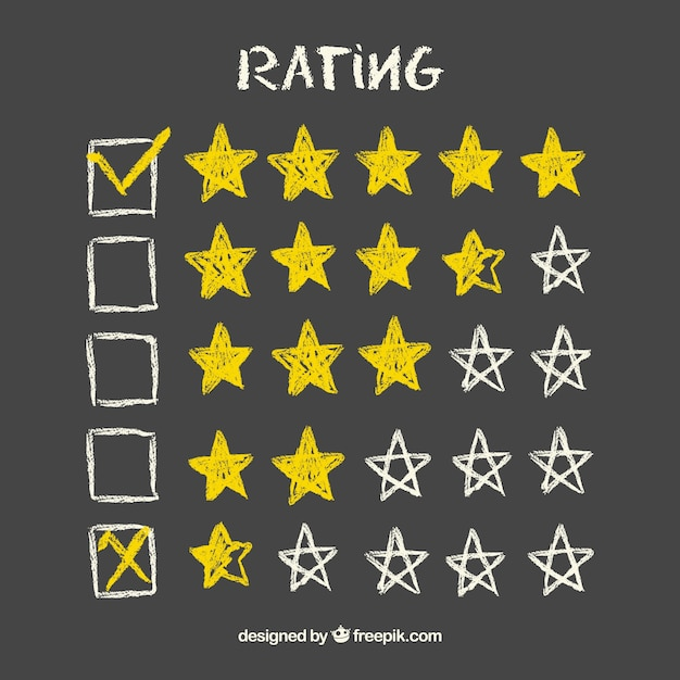 Concetto di valutazione a stelle lavagna gialla Vettore gratuito