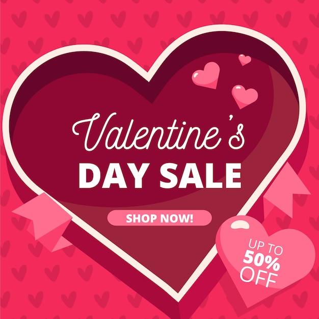 Concetto di vendita di san valentino design piatto Vettore gratuito