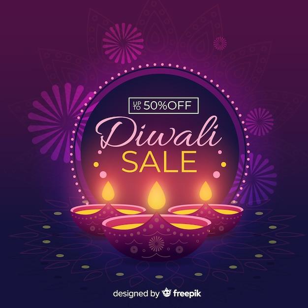 Concetto di vendita diwali con sfondo design piatto Vettore gratuito