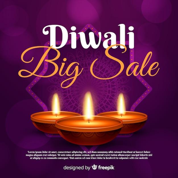 Concetto di vendita diwali con sfondo realistico Vettore gratuito
