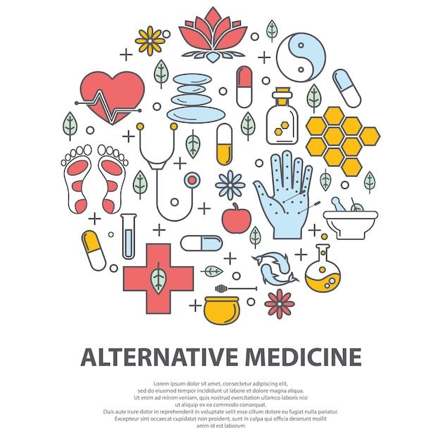 Concetto di vettore del centro di medicina alternativa. Vettore Premium