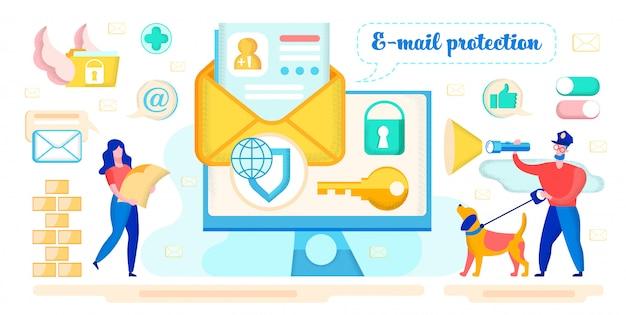 Concetto di vettore di protezione della corrispondenza e-mail Vettore Premium