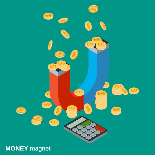 Concetto di vettore isometrico piatto magnete dei soldi Vettore Premium