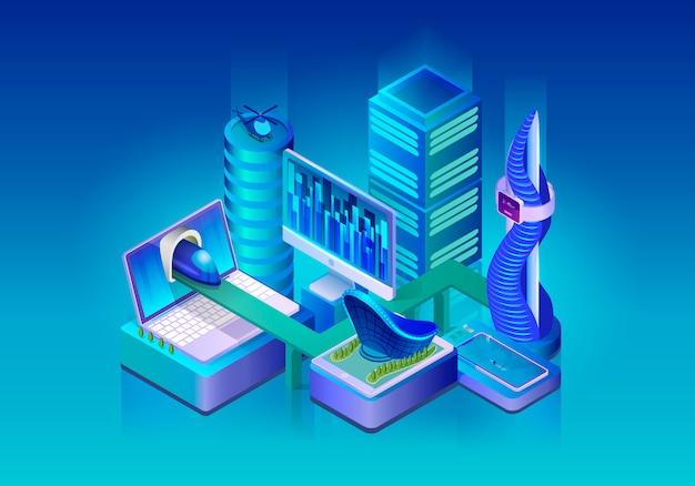 Concetto di vettore isometrico smart city technologies Vettore Premium