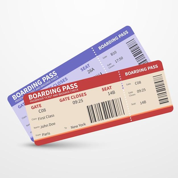 Concetto di viaggio di viaggio di vettore dei biglietti del passaggio di imbarco di linea aerea Vettore Premium