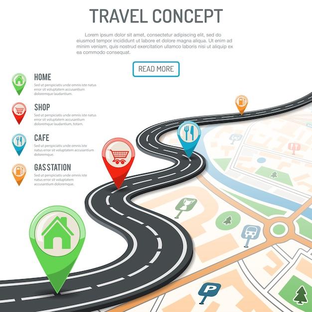 Concetto di viaggio e di navigazione Vettore Premium