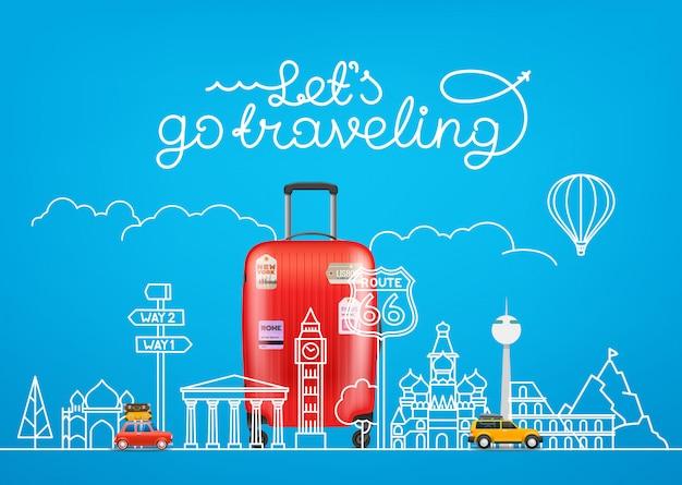 Concetto di viaggio illustrazione vettoriale con famose attrazioni e accessori Vettore Premium