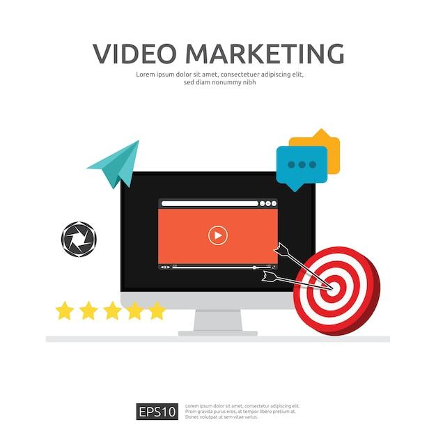 Concetto di video marketing con monitor dello schermo del pc Vettore Premium