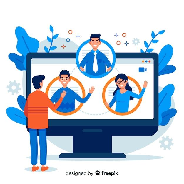 Concetto di videoconferenza per landing page Vettore gratuito